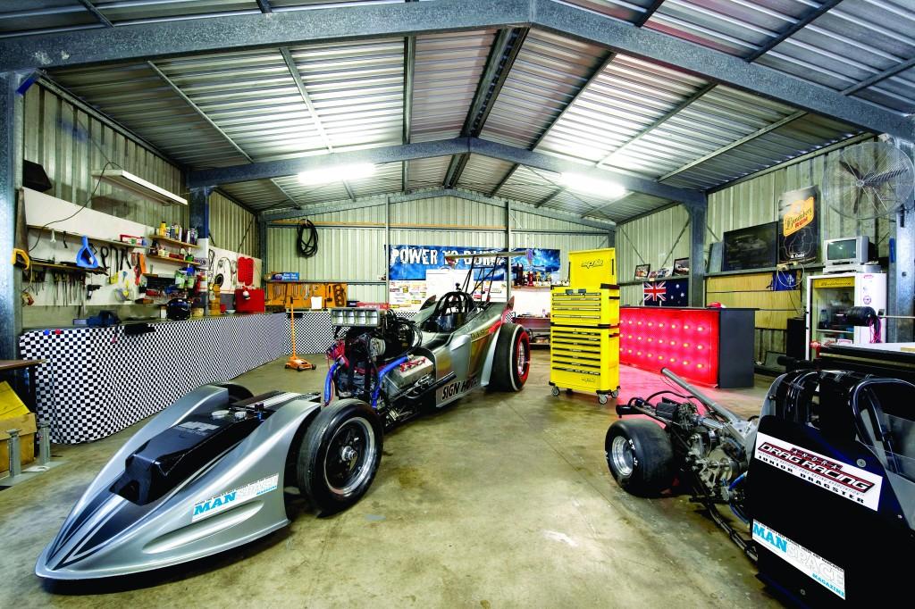 Inside shed