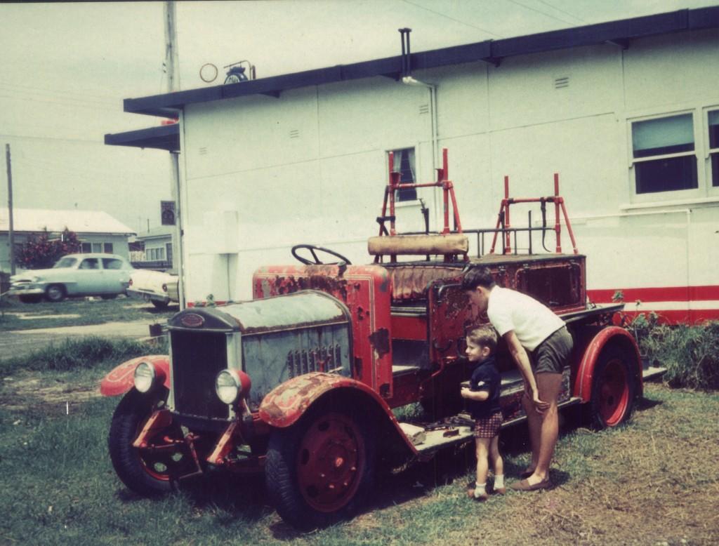 Warren Brown age three (1968), with a 1920s  Dennis fire engine.