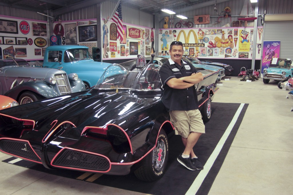 Glen Jennings posing with his Batmobile.