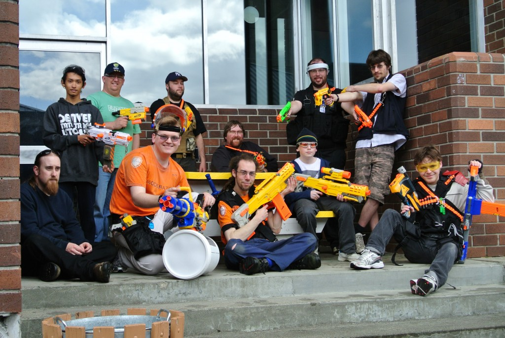 Nerf guns are relatively cheap and make for a great alternative to paintballing... even for grown ups.