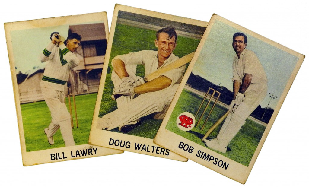 Australian legends from a set of 1965 Scanlens cricket cards.