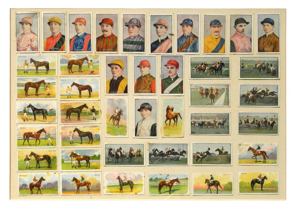 Cigarette cards from the 1930s featuring jockeys, including Jim Pike (centre in B&W silks) who rode Phar Lap to many famous victories. Mounting and framing the cards has greatly diminished their value.