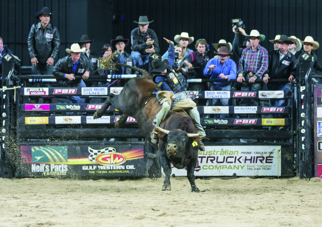 Cody Heffernan on Sports Machine for 84 points in the championship round of the PBR Australian National Finals at the Qantas Credit Union Arena